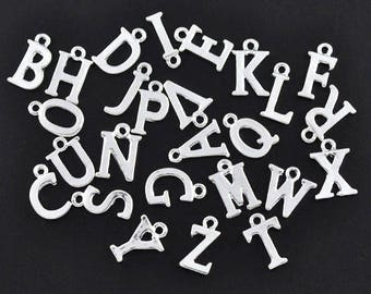 Silver 14mm silver plated letter A to Z * K1 - K26 choice 1 charm letter alphabet charm metal