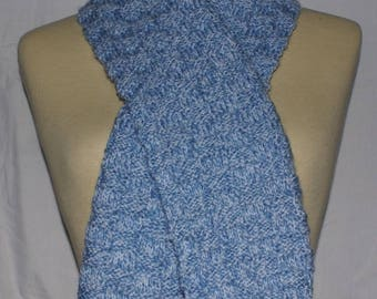 girl or boy in Blue Heather wool white knit scarf