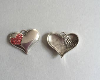 Red heart silver plated + RHINESTONE