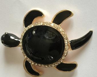 TURTLE (legs ARTICULEES) black enamel + rhinestones