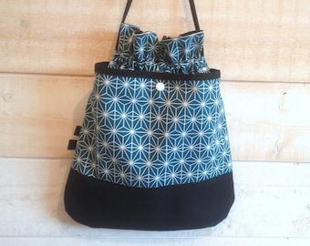 Blue teal/white and black DrawString bag