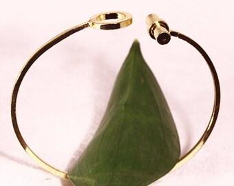 adjustable round column 1bracelet cuff Bangle gold plated 17cm
