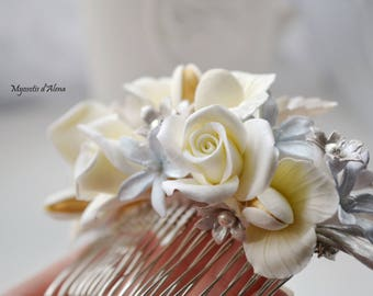 Silver and gold flowers for wedding hair comb