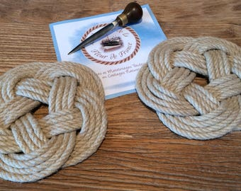 Trivet - belt - Navy - hemp - Brittany Decoration
