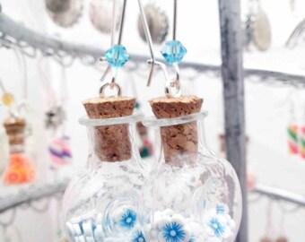 """""""Blue flowers"""" flat glass vial earrings"""