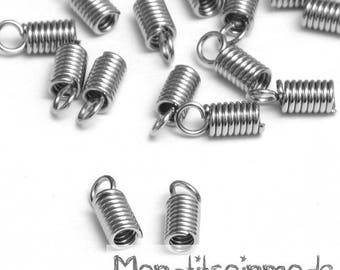 Spring 50 end caps for cord silver 9x5mm