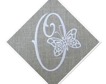 EMBROIDERED MONOGRAM LETTER - O - EMBROIDERY WHITE LINEN SQUARE