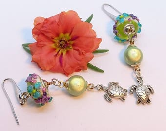 """Earrings """"Galapagos"""" beads style Murano beads """"miracle"""" and turtle charms"""