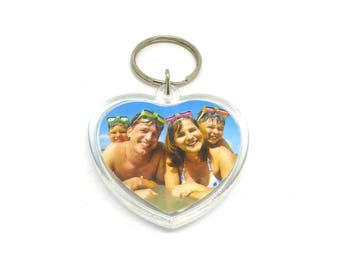 Keychain heart photo OUT 0245 B 52mm