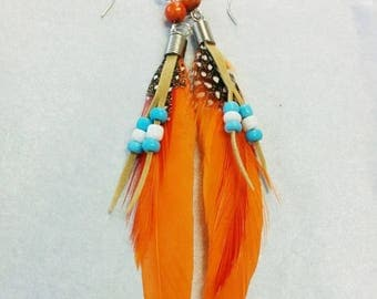 orange and blue feather earrings