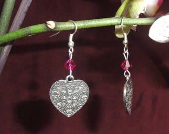 Swarovski crystal and Silver Heart Earrings