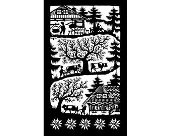 Poya little pattern, mounted to the pasture in woodcut (Swiss traditional art)