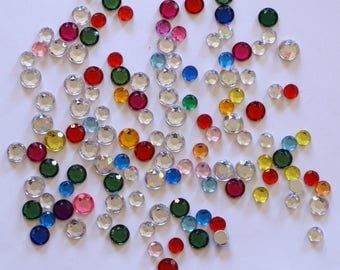Rhinestone round set of 100 mixed stick: diameter 6-7mm - 002102