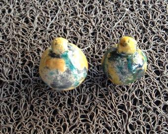 Set of 2 Christmas raku ceramic balls turquopise yellow gold silver