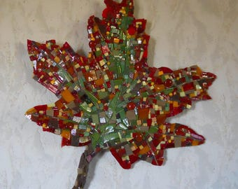 "Table wall relief mosaic ""autumn leaf, smalts, glass Albertini and pearls-support cement"