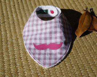 Bandana bib in light purple mustache for Salvador Dali admirer