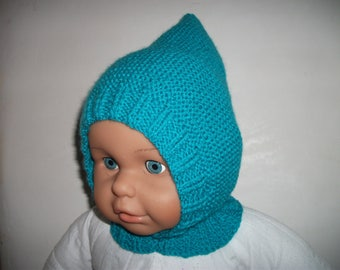 Hood/bonnet turquoise baby 6-12 months