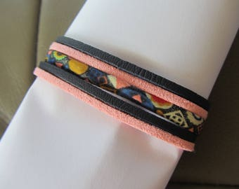 Multi-row bracelet cuff Suede, leather and liberty Navy Blue and pink