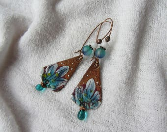 Dangling earrings, charm theme turquoise blue flower Lampwork Glass Teardrop blue enameled copper, copper rod, white jade