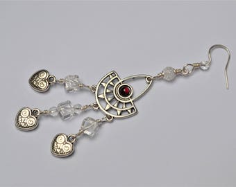 Earrings in 925 sterling silver and silver plated, Crystal and Garnet / stone of protection and confidence