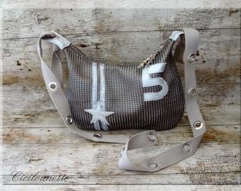 Silver plated Brown leatherette shoulder Messenger bag