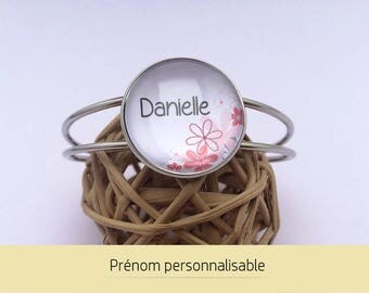 Bracelet name personalized • jewelry customize cabochon • flowers