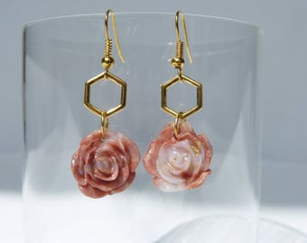 Hexagon earrings gold and pink rose