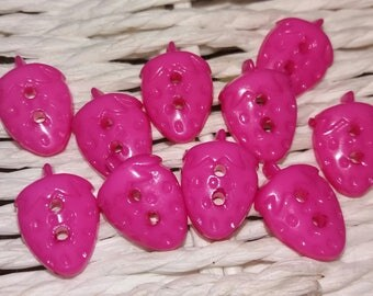 set of 10 buttons Strawberry pink plastic