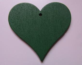 wooden pendant heart dark green 40mmx43mm