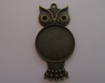 bronze owl pendant (56mmx27mm) for cabochon 25mm