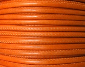 20 cm round 5 mm orange stitching strap leather Palm for memory wire