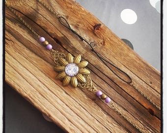 Head Band head bronze flower jewelry / pearls and purple flower cabochon