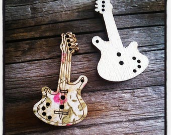 set of 2 buttons flowered guitar wood covered with fabric, 34 mm pink and khaki