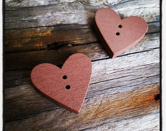 button heart sewing wooden Brown 2.3 cm x 2.4 cm x 4 mm