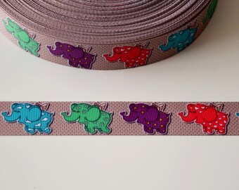 "Ribbon grosgrain ""ELEPHANT"" 22mm"