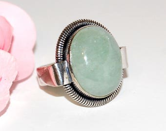 Ring made of aventurine and Sterling Silver 925 size 54