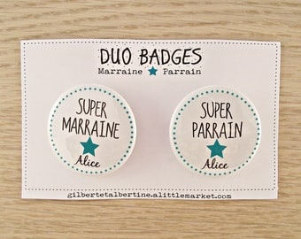 Duo sponsor 3.8 cm badges / name