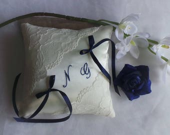 Chic ring bearer pillow lace from Calais ivory Embroidered handmade Navy Blue