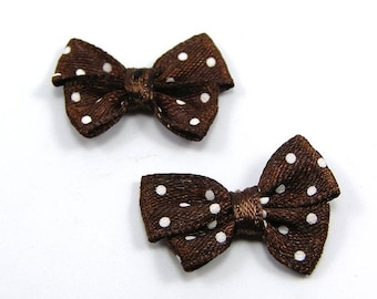 Brown set of 2 bows with white dots 24 mm x 14 mm