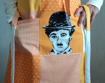 Orange gingham and polka dot apron