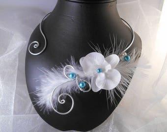 ZOLA turquoise & white wedding necklace