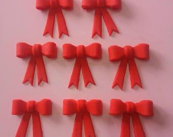 8 edible fondant bows