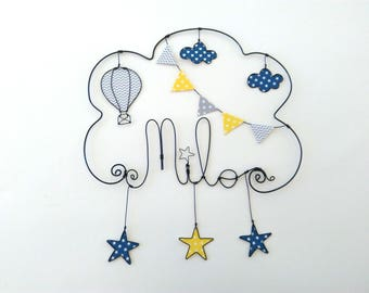 """Name wire customizable """"starry sky Montgolfier"""" wall decor for child's room"""