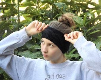 Black wool headband twist