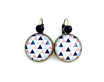 Bronze Stud Earrings * cabochon * triangles