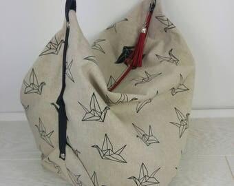 Origami bird cotton bag