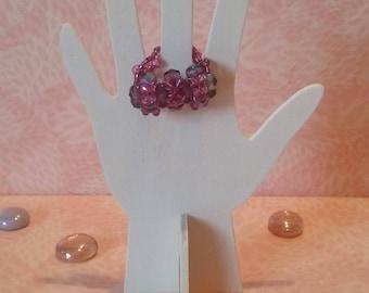 Ring 2 Metal lilac beads-