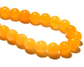 20 jade beads 6 mm - translucent - round bead - gem stone - yellow-F204-1