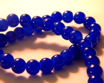 "45 ""jade"" 6 mm glass beads - royal blue - PE231"