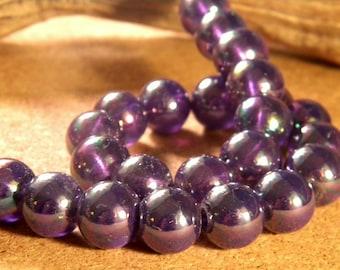 10 AB plated AP3 Purple 12 mm Rainbow glass beads